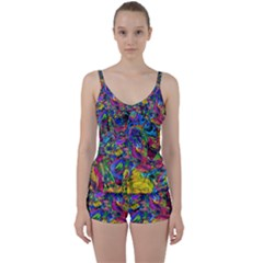 Pattern Structure Background Tie Front Two Piece Tankini by Pakrebo