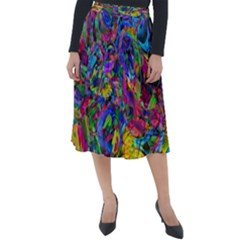 Pattern Structure Background Classic Velour Midi Skirt