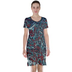 Pattern Structure Background Facade Short Sleeve Nightdress