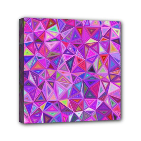 Pink Triangle Background Abstract Mini Canvas 6  X 6  (stretched)