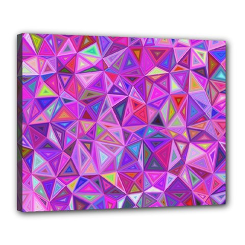 Pink Triangle Background Abstract Canvas 20  X 16  (stretched) by Pakrebo