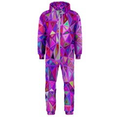 Pink Triangle Background Abstract Hooded Jumpsuit (men)