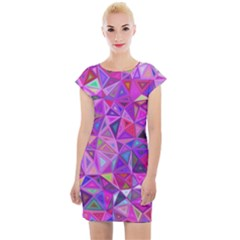 Pink Triangle Background Abstract Cap Sleeve Bodycon Dress