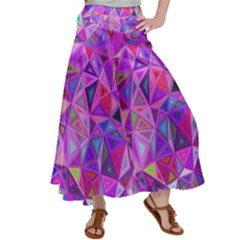 Pink Triangle Background Abstract Satin Palazzo Pants by Pakrebo
