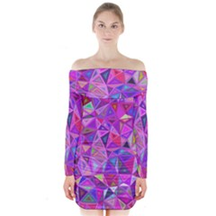 Pink Triangle Background Abstract Long Sleeve Off Shoulder Dress