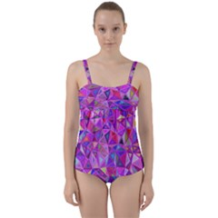 Pink Triangle Background Abstract Twist Front Tankini Set by Pakrebo