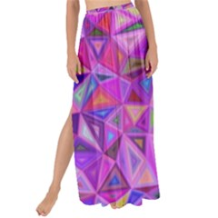 Pink Triangle Background Abstract Maxi Chiffon Tie Up Sarong