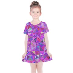 Pink Triangle Background Abstract Kids  Simple Cotton Dress by Pakrebo