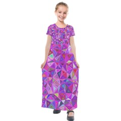 Pink Triangle Background Abstract Kids  Short Sleeve Maxi Dress by Pakrebo