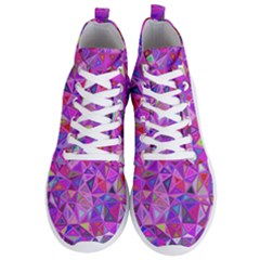 Pink Triangle Background Abstract Men s Lightweight High Top Sneakers