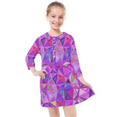 Pink Triangle Background Abstract Kids  Quarter Sleeve Shirt Dress