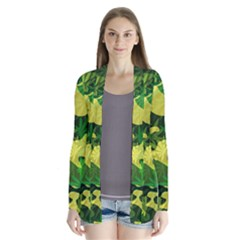 Marijuana Camouflage Cannabis Drug Drape Collar Cardigan by Pakrebo