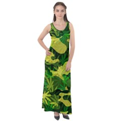 Marijuana Camouflage Cannabis Drug Sleeveless Velour Maxi Dress