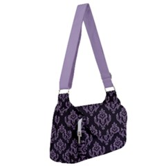 Damask Crocus Petal On Black  Post Office Delivery Bag by TimelessFashion
