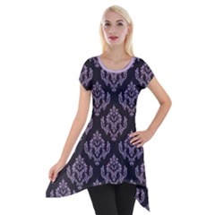 Damask Crocus Petal On Black  Short Sleeve Side Drop Tunic by TimelessFashion