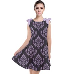 Damask Crocus Petal On Black  Tie Up Tunic Dress by TimelessFashion