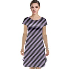 Diagonal Stripes In Crocus Petal And Black  Cap Sleeve Nightdress