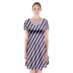 Diagonal Stripes In Crocus Petal And Black  Short Sleeve V Neck Flare Dress