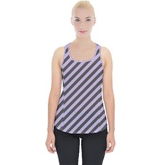 Diagonal Stripes In Crocus Petal And Black  Piece Up Tank Top by TimelessFashion