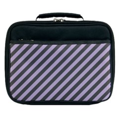 Diagonal Stripes In Crocus Petal And Black  Lunch Bag by TimelessFashion