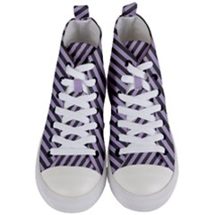Diagonal Stripes In Crocus Petal And Black  Women s Mid Top Canvas Sneakers