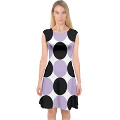 Dots Effect  Capsleeve Midi Dress