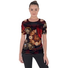 Steampunk, Wonderful Clockswork Shoulder Cut Out Short Sleeve Top