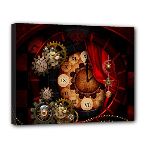 Steampunk, Wonderful Clockswork Canvas 14  X 11  (stretched)