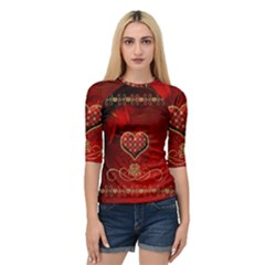 Wonderful Heart With Roses Quarter Sleeve Raglan Tee by FantasyWorld7