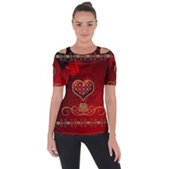Wonderful Heart With Roses Shoulder Cut Out Short Sleeve Top