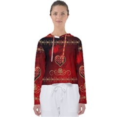Wonderful Heart With Roses Women s Slouchy Sweat