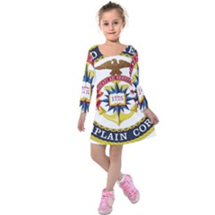 Seal Of United States Navy Chaplain Corps Kids  Long Sleeve Velvet Dress by abbeyz71