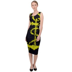 French Navy Golden Anchor Symbol Sleeveless Pencil Dress by abbeyz71