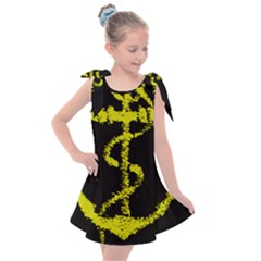 French Navy Golden Anchor Symbol Kids  Tie Up Tunic Dress by abbeyz71