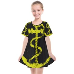 French Navy Golden Anchor Symbol Kids  Smock Dress by abbeyz71