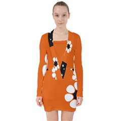 Flag Of Northern Territory V Neck Bodycon Long Sleeve Dress