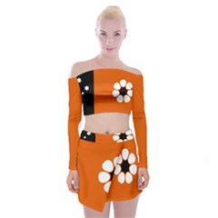 Flag Of Northern Territory Off Shoulder Top With Mini Skirt Set