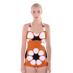 Flag Map Of Northern Territory Boyleg Halter Swimsuit