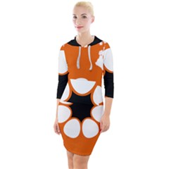 Flag Map Of Northern Territory Quarter Sleeve Hood Bodycon Dress