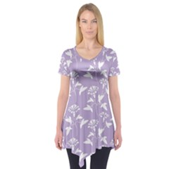 Floral In Crocus Petal  Short Sleeve Tunic  by TimelessFashion