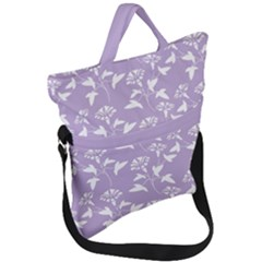 Floral In Crocus Petal  Fold Over Handle Tote Bag by TimelessFashion