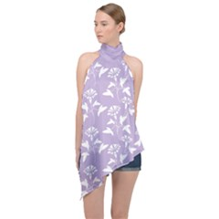 Floral In Crocus Petal  Halter Asymmetric Satin Top by TimelessFashion