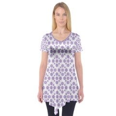 Floral Dot Series   Crocus Petal And White  Short Sleeve Tunic  by TimelessFashion