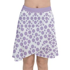 Floral Dot Series - Crocus Petal And White  Chiffon Wrap Front Skirt by TimelessFashion