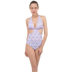 Floral Dot Series - Crocus Petal And White  Halter Front Plunge Swimsuit by TimelessFashion