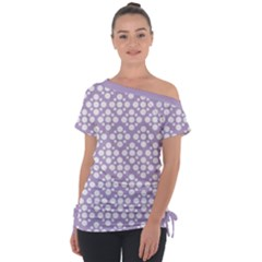 Floral Dot Series   White And Crocus Petal  Tie Up Tee by TimelessFashion