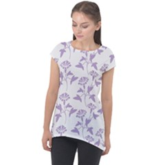 Floral In Crocus Petal  Cap Sleeve High Low Top by TimelessFashion