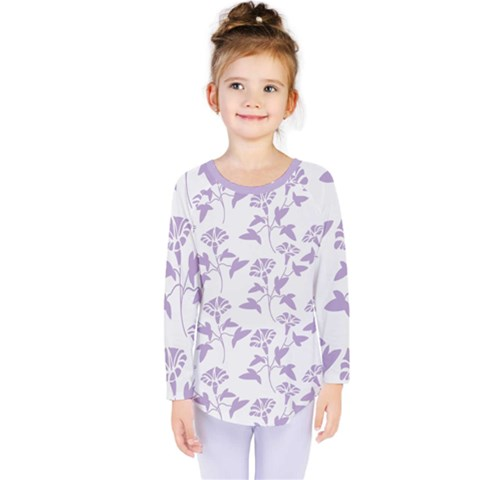 Floral In Crocus Petal  Kids  Long Sleeve Tee by TimelessFashion