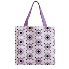 Flower Star  Zipper Grocery Tote Bag