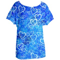 Valentine Heart Love Blue Women s Oversized Tee by Mariart